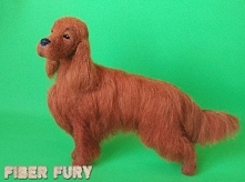 Needle felted Irish setter, Seter irlandzki figurka z wełny by Fiber fury