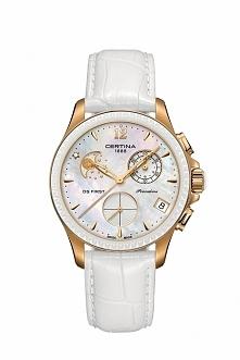 Certina C030.250.36.106.00 damski zegarek szwajcarski na białym skórzanym pasku. Posiada chronograph oraz datownik, jest wodoodporny a na jego cyferblacie widnieje prawdziwy dia...
