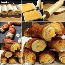 Imprezowe rolki z chleba tostowego, sera topionego i boczku
