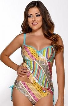 Ava ST-9 tanikini Niesamowita koszulka kąpielowa, utrzymana w pięknym zestawieniu kolorystycznym, usztywniane miseczki