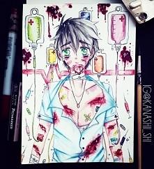 nowy rysunek w nowym szkicowniku <3 Haru w szpitalu... znowu to zrobił.
