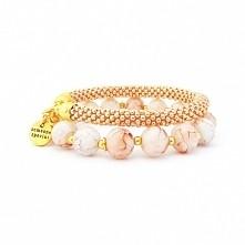 """Zestaw Bransoletek """"Roma"""" wykonany ze szklanych koralików, w kolorze różowego złota oraz beżu ♥  65,00 PLN"""