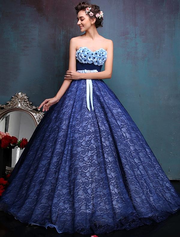 Efektowne Sukienka Na Bal Gimnazjalny 2016 Bez Ramiączek Bez Pleców Płatek Niebieskie Suknie Balowe Z Koronki Skrzydła