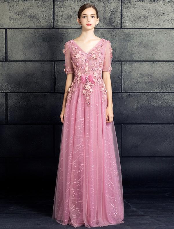 3c80d3c795 Piękne Koronkowe Sukienki Na Bal Studniówkę 2017 V-neck Aplikacja Kwiaty  Różo.