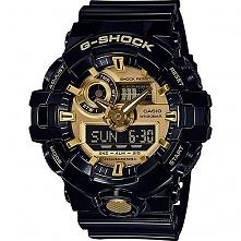 G-shock Casio GA-710GB-1AER męski zegarek sportowy w kolorze czarno złotym. Wielofunkcyjny, odporny na wstrząsy. Wodoodporny 20 ATM - można nurkować :) Więcej na naszej stronie,...