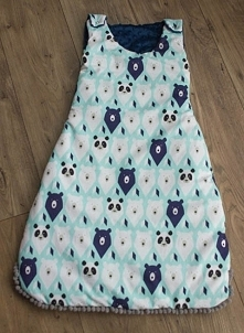 Śpiworek dla niemowlaka. Bawełna w misie + granatowy plusz minky. fb MisioZdzisioSklep.