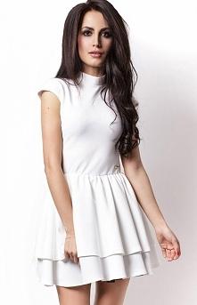 Ivon 200 sukienka biała Zjawiskowa sukienka, rozkloszowany fason, góra dopaso...