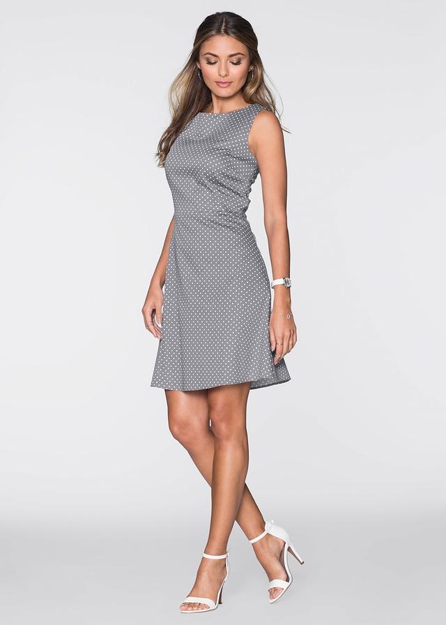 109fbdc764 Elegancka bawełniana szara sukienka w kropki na Sukienki wizytowe ...