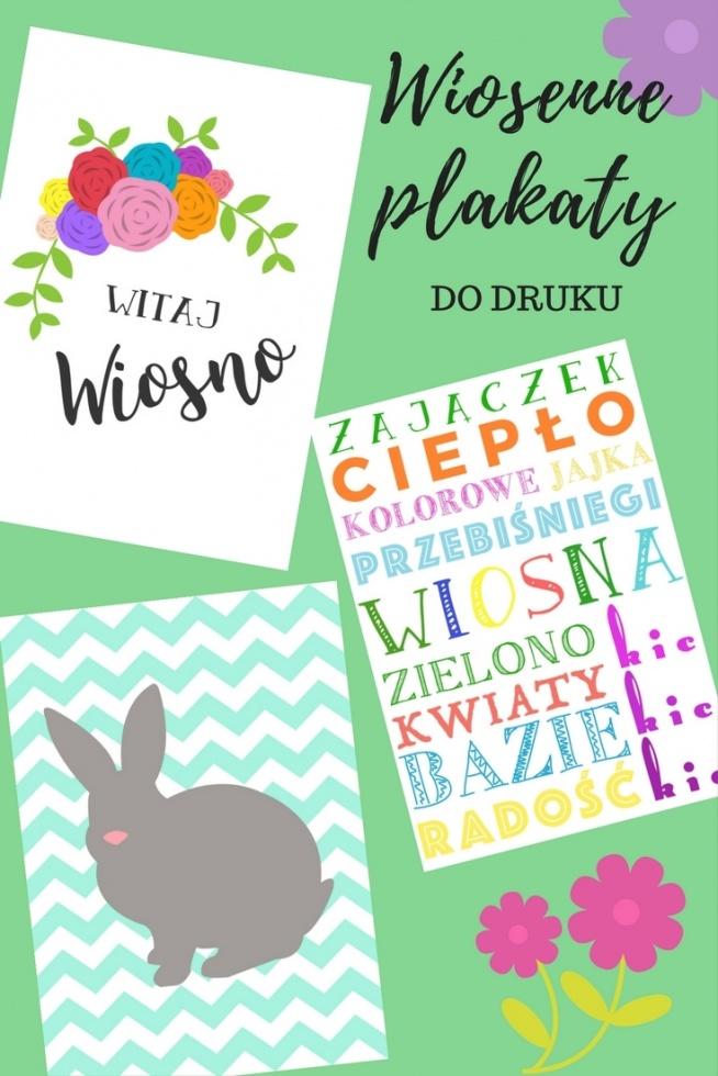 Wiosenne Plakaty Do Druku Witaj Wiosno Kic Kic Kic Szary