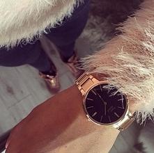 Zegarek marki Pierre Ricaud złocony 18karatowym, różowym złotem z czarną tarc...
