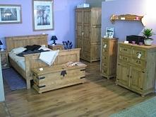 stylowe drewniane meble do sypialni wykonane z litej sosny