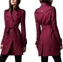 Piękny bordowy płaszcz z paskiem. Klasyczny, idealny. Podstawa garderoby. Kli...