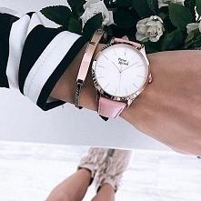 Wiosenny, różowy zegarek marki Pierre Ricaud, złocony 18-karatowym złotem! Kl...