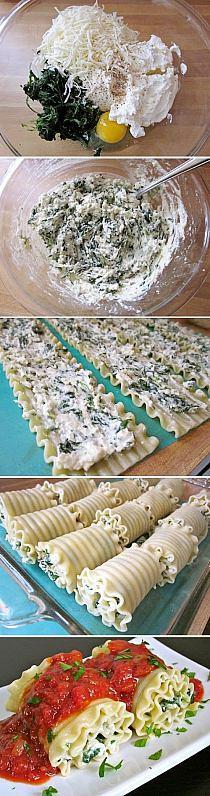 Oto przepis ;) Makaron gotujemy żeby był al dente, podczas gotowania makaronu przyrzadzamy nadzienie, odmrazamy szpinak, wyciskamy z niego wodę (najwiecej jak tylko sie da), przekladamy go do miseczki i dodajemy sera mozzarella, parmezanu oraz ricotty (ricotte można zastąpic twarogiem), jedno jajko, odrobine soli i pieprzu. Mieszamy aż sie wszystko doskonale połączy. Nakładamy nadzienie na makaron i zwijamy w ruloniki, wszystko wyłożyć najlepiej w naczyniu żaroodpornym, na makaron wylać sos marinara, przykryc i wsadzić do rozgrzanego piekarnika na 30 minut. Potrawę najlepiej podawać na ciepło.