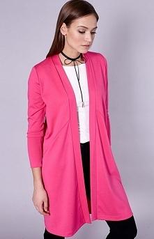Click Fashion Olvara sweter różowy Modny i kobiecy kardigan, wykonany z miękkiej dzianiny, z komfortowymi kieszeniami