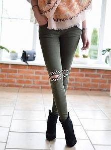 Spodnie rozcięcia ćwieki khaki. Klasyczne spodnie typu rurki z rozcięciem. Ottanta - sklep online