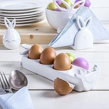 Talerz na jajka ceramiczny KURKA I ZAJĄCZEK BIAŁY