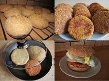 Fit burgery z ciecierzycy   Bułeczki: 40dag mąki pszennej 10dag mąki żytniej ...