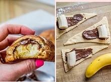 Banalny pomysł na słodkie co nieco :D Wystarczy ciasto francuskie, nutella i banany