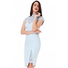 Błękitna ołówkowa sukienka ...
