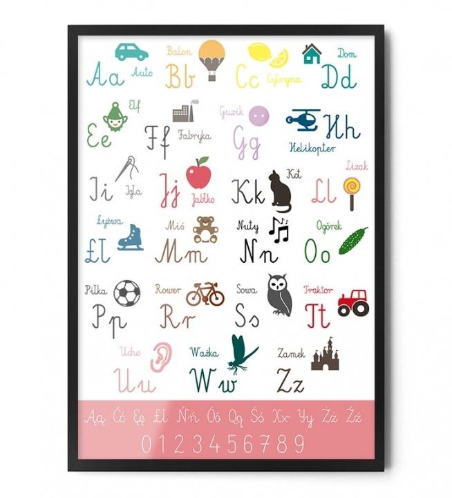 Plakat ALFABET (różowy)  \ FOX ART STUDIO