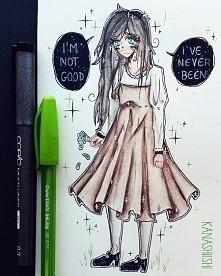 """dzisiejszy rysunek :3 patrząc na swoje rysunki... dziwię się sama sobie :""""3 rysuję dziewczyny w takich ubraniach, w których normalnie raczej bym nie chodziła haha ^^'"""