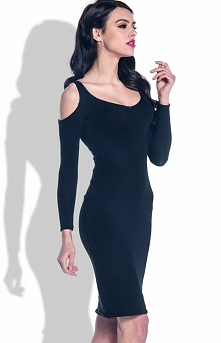 Fobya F370 sukienka czarna Seksowna i niezwykle kobieca sukienka, dopasowany fason, długie rękawy z wycięciami