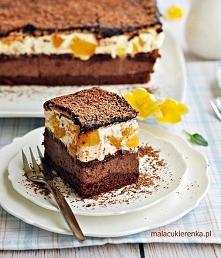 Ciasto czekoladowa fantazja z brzoskwiniową pianką. Przepis po kliknięciu w z...