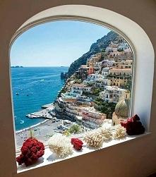 Widok z okna w Positano, Włochy