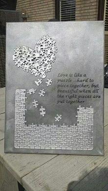 DIY- dekoracja z puzzli