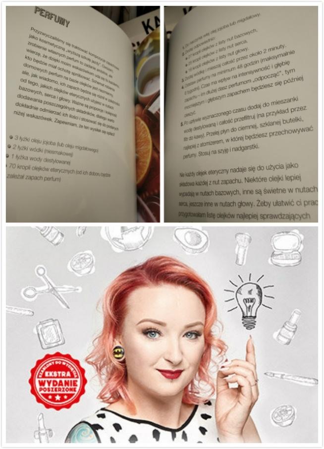 """Jakiś czas temu w księgarni natknęłam się na książkę """" Tajniki DIY"""" znanej youtuberki Red Lipstick Monster. Książka, tak jak i jej poprzedniczka """"Tajniki makijażu"""", jest bardzo ładnie wydana i zachęca do wertowania. Moja uwagę przykuł przepis na domowe perfumy. Jako, że trochę """"siedzę"""" w temacie z zaciekawieniem zaczęłam go analizować i…opadły mi ręce.  Z podanego przez autorkę przepisu otrzymamy ok. 90 ml perfum, a więc spory flakonik. Do skomponowania zapachu, pani Ewa zaleca użyć 70 kropli wybranych olejków eterycznych. Biorąc pod uwagę, że 20 kropli olejków to około 1 ml, łatwo przeliczamy, że w całych perfumach mamy ok. 3,5 ml substancji zapachowych, co przekłada się na stężenie ok. 3,74%. Dla niewtajemniczonych dodam, że woda toaletowa, (a więc pachnidło o najmniejszej ilości czystych olejków eterycznych) powinna mieć w sobie od 5 do 15% olejków. Wnioski nasuwają się same… Idąc dalej zastanawiają mnie też poszczególne składniki. O ile olejek jojoba lub migdałowy bardzo dobrze nadają się do tego celu, o tyle zastanawia mnie użycie wódki (mała zawartość procentowa alkoholu) i dodatkowe rozcieńczanie go jeszcze wodą. Po co rozcieńczać tak mało stężony alkohol? Co to ma na celu? Nie mam bladego pojęcia. Do głowy przychodzi mi co najwyżej troska o te z nas, które mają bardziej wrażliwą skórę. Ponadto, autorka nie informuje czytelników, że z tego przepisu wyjdą de facto perfumy dwufazowe, którymi przed użyciem należy wstrząsnąć. Moja opinie – ten przepis to dobry żart: """"perfumy"""" o tak małym stężeniu można nazwać co najwyżej wodą kolońską (chociaż takowa ma przynajmniej 80% stężenie alkoholu). Będą więc bardzo delikatnie pachnieć i będą raczej nie trwałe (chociaż ich trwałość może nieco podratować zastosowanie oleju). Widać, że Red Lipstick Monster nie poświęciła ani pół godziny żeby zagłębić się w temat domowych perfum, albo chociaż wypróbować przepis, który sygnuje jako swój własny. Jak dla mnie ten przepis to porażka i nieporozumienie."""
