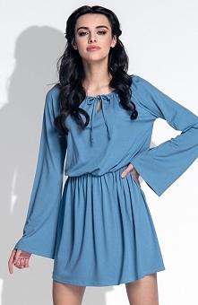 Fobya F389 sukienka jeansowa Modna sukienka, luźny fason, długie rozszerzane rękawy
