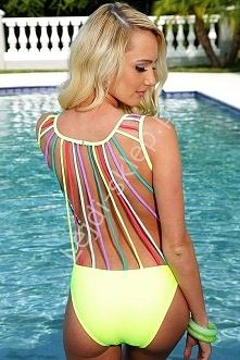 Monokini z kolorowymi paskami na plecach