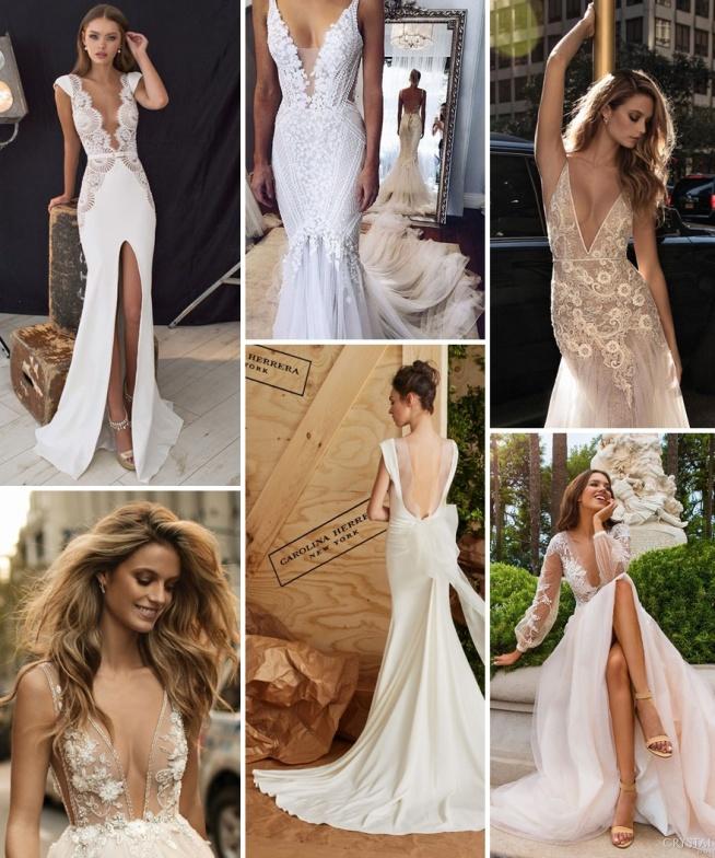 Suknie ślubne - trendy 2017 - głębokie dekolty