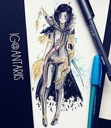 rysunek przedstawiający jin varrel z anime blade and soul <33 miło rysował...
