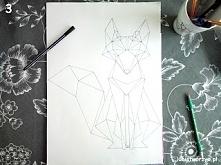 Handmade'owy obraz z geometrycznym liskiem w roli głównej. Instrukcja ju...