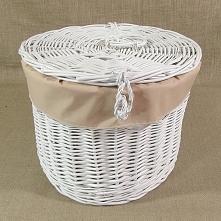 Kosz wiklinowy - kapelusznik, biały obszyty materiałem w kolorze cappuccino