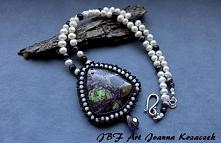 Naszyjnik z jaspisem cesarskim i perłami - JBF Art