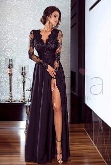 długa suknia LUNA z koronką