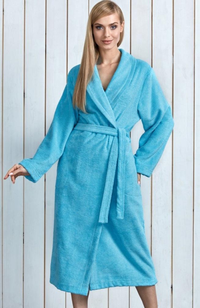 L&L Tracy DL szlafrok turkusowy Kobiecy szlafrok, wiązany w talii, wykonany z miękkiej bawełnianej dzianiny