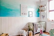 Metamorfoza pokoju dziecięcego - sposób na ścianę ombre w morskim klimacie!