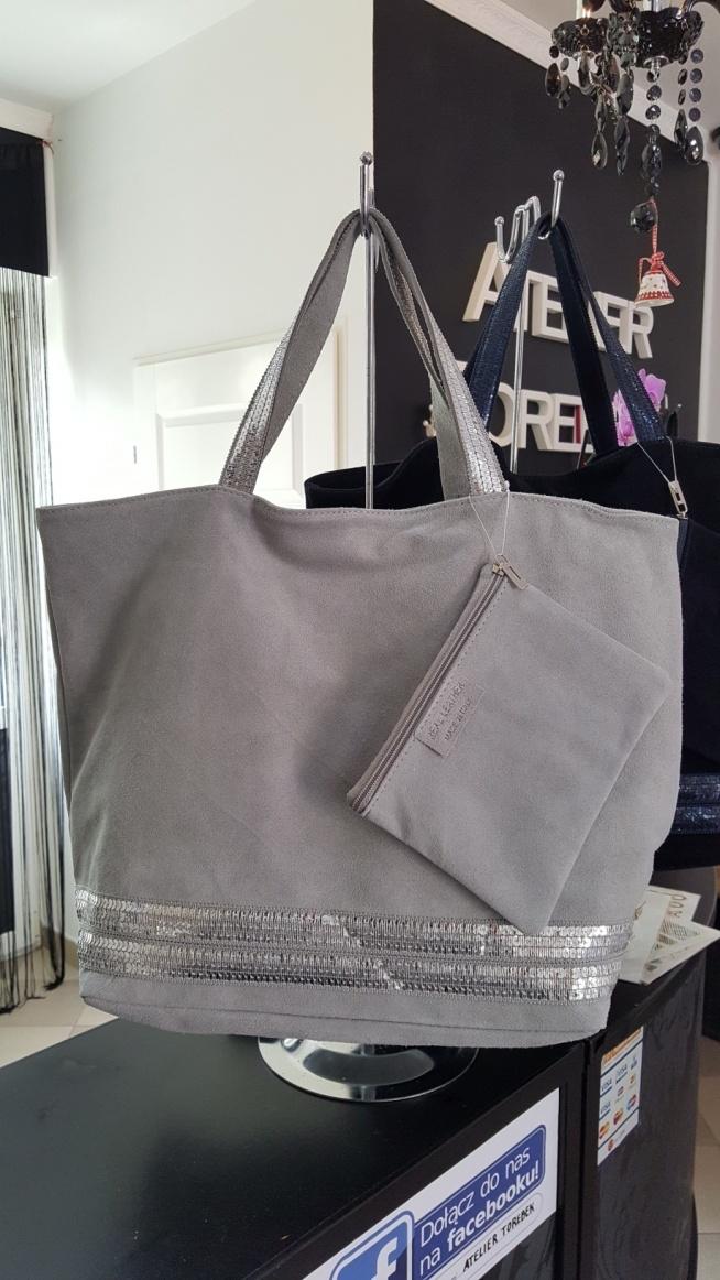 szara zamszowa torebka damska cekiny piękna Fb/ Atelier Torebek wysyłka 24h