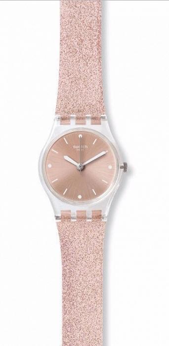 Ogromny Swatch LK354C stylowy zegarek damski w kolorze różowym z długim VT23