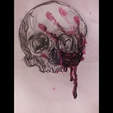 Bloody skull drawing