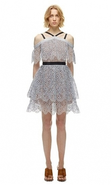 Self Portrait Off Shoulder Detail Tiered Mini Dress