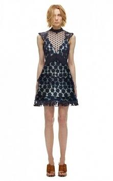 Self Portrait 60's Overlay Daisy Applique Lace Mini Dress