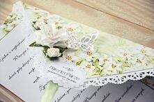 Piękna i elegancka kartka ślubna w formie kopertówki! Kartka zawiązywana, w ś...