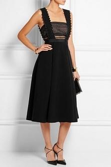 Self-Portrait Leila Guipure Lace And Crepe Midi Dress Black