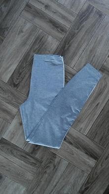 Nowe szare sportowe legginsy z białymi lamówkami i wysokim stanem z C&A
