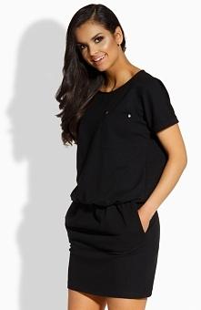 Lemoniade L201 sukienka czarna Wygodna sukienka, wykonana z gładkiej i miękkiej bawełnianej dzianiny, krótki rękaw